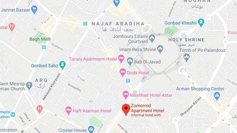 موقعیت مکانی هتل زمرد مشهد